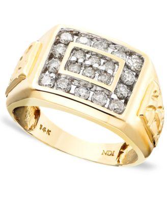 menu0027s 14k gold ring diamond 1 ct tw