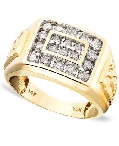 Men S 14k Gold Ring Diamond 1 Ct T W Rings