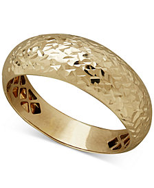 Italian Gold Dome Band with Textured Detail in 14k Gold