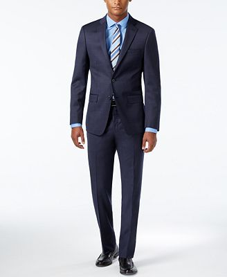 Calvin Klein Men's Extra Slim-Fit Ocean Blue Suit - Suits & Suit ...