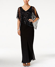 J Kara Beaded V-Neck Illusion-Overlay Gown