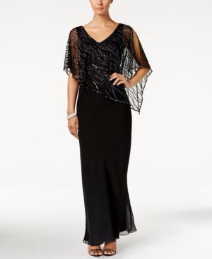 1930s Style Evening Dresses J Kara Beaded V-Neck Illusion-Overlay Gown $269.00 AT vintagedancer.com