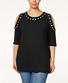 Belldini Plus Size Grommet-Trim Cold-Shoulder Top