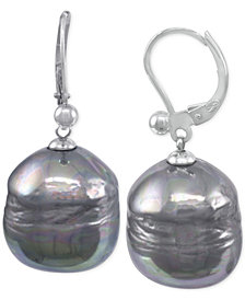 Majorica Sterling Silver Imitation Black Baroque Pearl (12mm) Drop Earrings