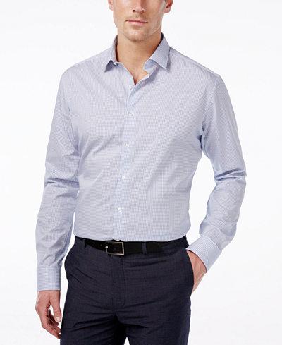 Alfani men 39 s extra slim fit performance blue check dress for Extra slim dress shirt