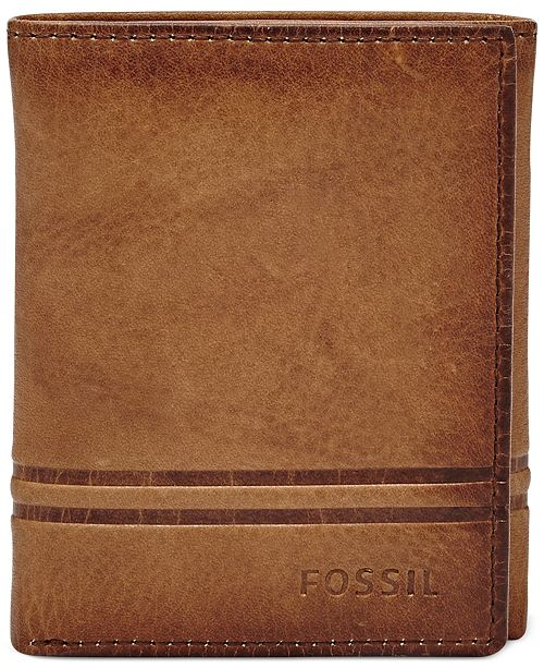 bb241e4c06758 Fossil Men s Watts Leather Trifold Wallet   Reviews - All Accessories ...
