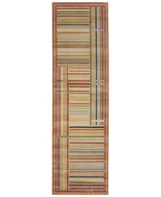 "CLOSEOUT! Area Rug, Somerset ST17 Lines Multicolor 2' 3"" x 8' Runner Rug"