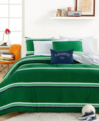 closeout! lacoste college collection green stripe comforter sets