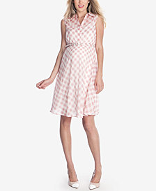 Seraphine Maternity Belted Plaid Dress