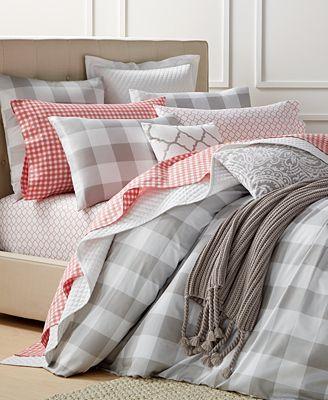 Charter Club Closeout Gingham Dove 3 Piece Comforter Sets Created