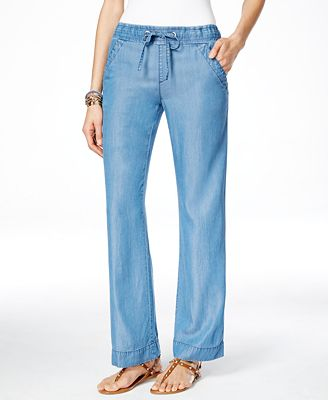INC International Concepts Denim Wide-Leg Pants, Only at Macy's ...