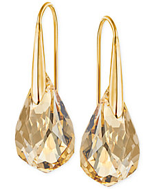 Swarovski Gold Tone Champagne Crystal Drop Earrings