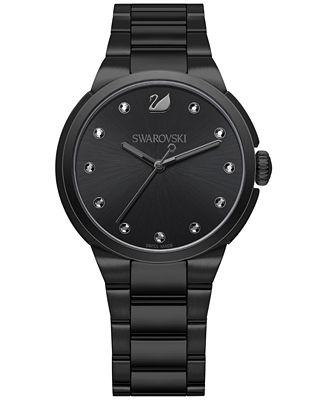 Swarovski Women's Swiss City Crystal Accent Black Stainless Steel Bracelet Watch 38mm