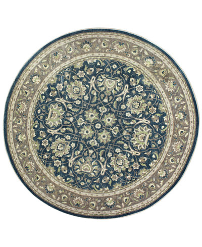 CLOSEOUT!  Fine Rug Gallery, One of a Kind, Manali B600157 Navy 10' Round Hand-Knotted Rug