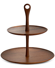 Nambé Skye Dinnerware Collection by Robin Levien Wood Tiered Dessert Stand
