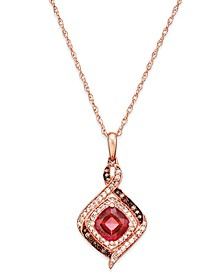 Rhodolite Garnet (1-1/3 ct. t.w.) and Diamond (1/4 ct. t.w.) Pendant Necklace in 14k Rose Gold