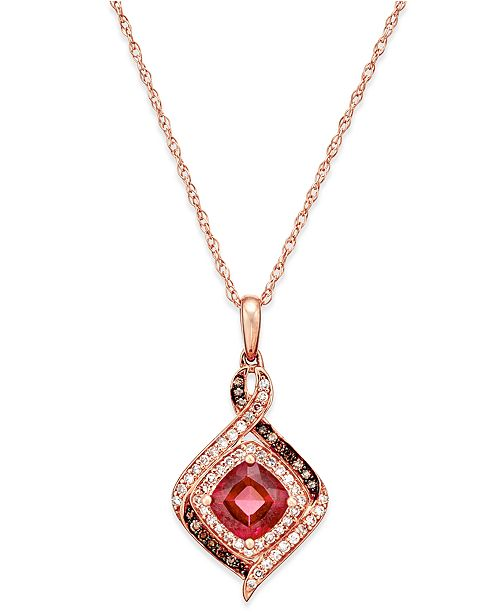 Macy's Rhodolite Garnet (1-1/3 ct. t.w.) and Diamond (1/4 ct. t.w.) Pendant Necklace in 14k Rose Gold