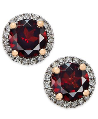Garnet (1-3/4 ct. t.w.) and Diamond (1/6 ct. t.w.) Stud Earrings in 14k Rose Gold