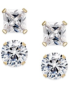 Cubic Zirconia 2-Pc. Stud Earrings Set in 10k Gold