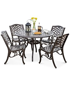 Taylah 5-Pc. Bronze-Finish Dining Set, Quick Ship