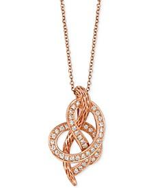 Strawberry 'n' Vanilla® Swirl Diamond Pendant Necklace (1/4 ct. t.w.) in 14k Rose Gold