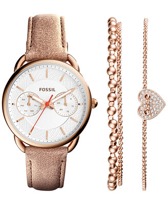 Fossil Women S Tailor Blush Leather Strap Watch And