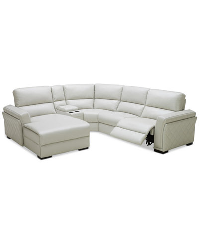 CLOSEOUT! Jessi 5-pc Leather Sectional Sofa with Chaise, Center Console and 1 Power Recliner, Created for Macy's