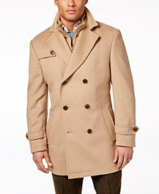 Labrada Double-Breasted Wool-Blend Peacoat with Knit Bib Inset