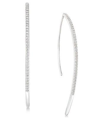 Diamond Threader Earrings 1 2 ct t w in 14k White Gold