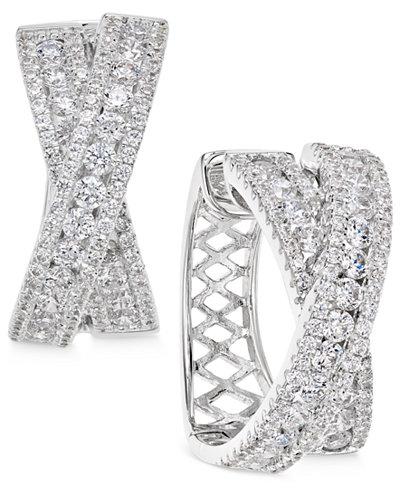 Arabella Swarovski Zirconia Crisscross Hoop Earrings in Sterling Silver, Created for Macy's
