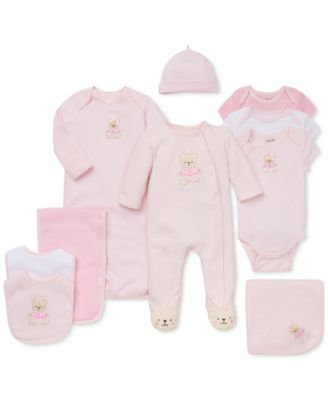 Baby Girls 3-Piece Sweet Bear Bib & Burp Cloth Set