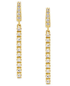Cubic Zirconia Linear Drop Earrings in 10k Gold