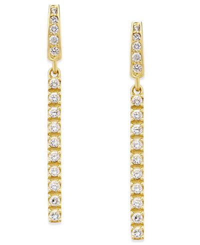 Cubic Zirconia Linear Drop Earrings in 10k Gold