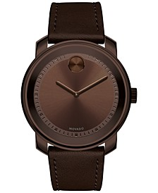 Men's Swiss Bold Brown Leather Strap Watch 43mm 3600377