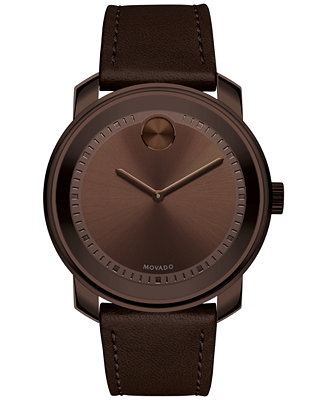 movado s swiss bold brown leather 43mm