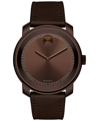 Movado Men S Swiss Bold Brown Leather Strap Watch 43mm