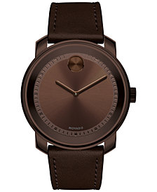 Movado Men's Swiss Bold Brown Leather Strap Watch 43mm 3600377