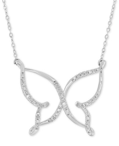 Diamond (1/10 ct. t.w.) Butterfly Pendant Necklace in 10k White Gold
