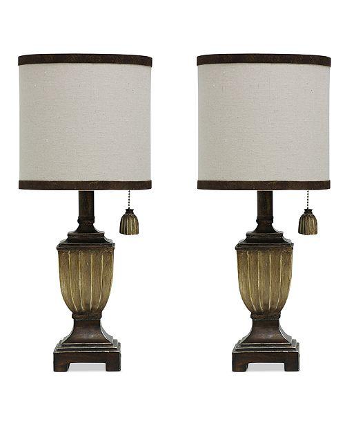 StyleCraft Set of 2 Saratoga Finish Traditional Mini Table Lamps