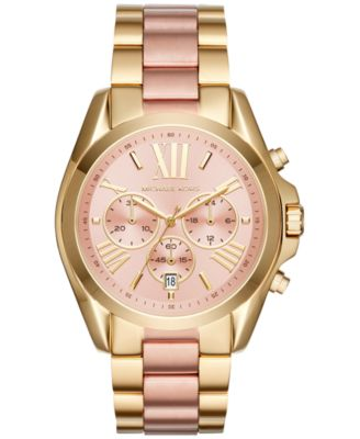 Michael Kors Women\u0026#39;s Chronograph Bradshaw Two-Tone Stainless Steel Bracelet Watch 43mm MK6359