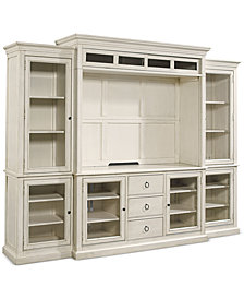Sag Harbor White 4-Pc. Wall Unit (2 Bookcases, Entertainment Deck & Entertainment Console)