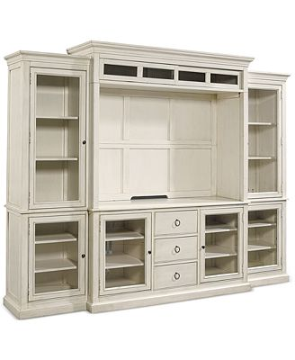 White Wall Unit sag harbor white 4-pc. wall unit (2 bookcases, entertainment deck