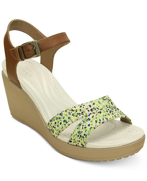 Crocs Women's Leigh II Ankle Strap Graphic Wedges & Reviews