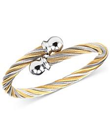 Unisex Celtic Two-Tone Cable Bangle Bracelet