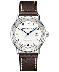 Men's Swiss Automatic Khaki Navy Pioneer Brown Leather Strap Watch 43mm H77715553