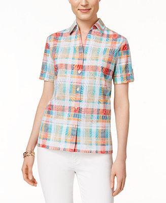 Alfred dunner petite plaid short sleeve shirt tops for Alfred dunner wedding dresses