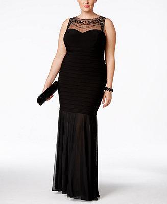 Xscape Plus Size Beaded Illusion Mermaid Gown Dresses