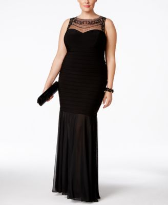 Xscape Plus Size Beaded Illusion Mermaid Gown