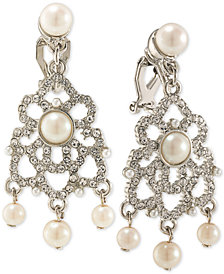 Carolee Silver-Tone Imitation Pearl and Pavé Clip-On Chandelier Earrings
