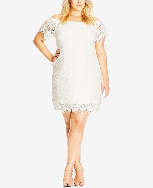 City Chic Trendy Plus Size Off The Shoulder Lace Dress Women Macys